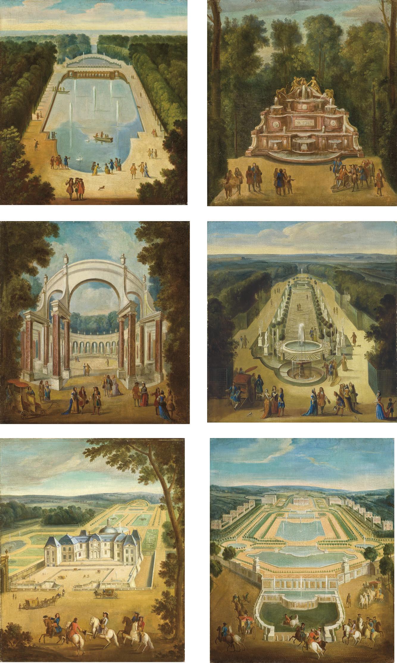 L'Ile Royale dans le parc du château de Versailles ; Vue de la cascade, ou buffet, dans les jardins de Trianon ; La colonnade de Versailles ; Vue du bosquet de la galerie des antiques à Versailles ; Vue du château de Vaux-le-Vicomte ; Vue du château de Marly