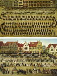 La procession des guildes; et La procession de Notre-Dame du Sablon pendant la fête de l'Ommegang à Bruxelles en 1615