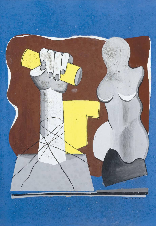 Composition au buste et au bras levé