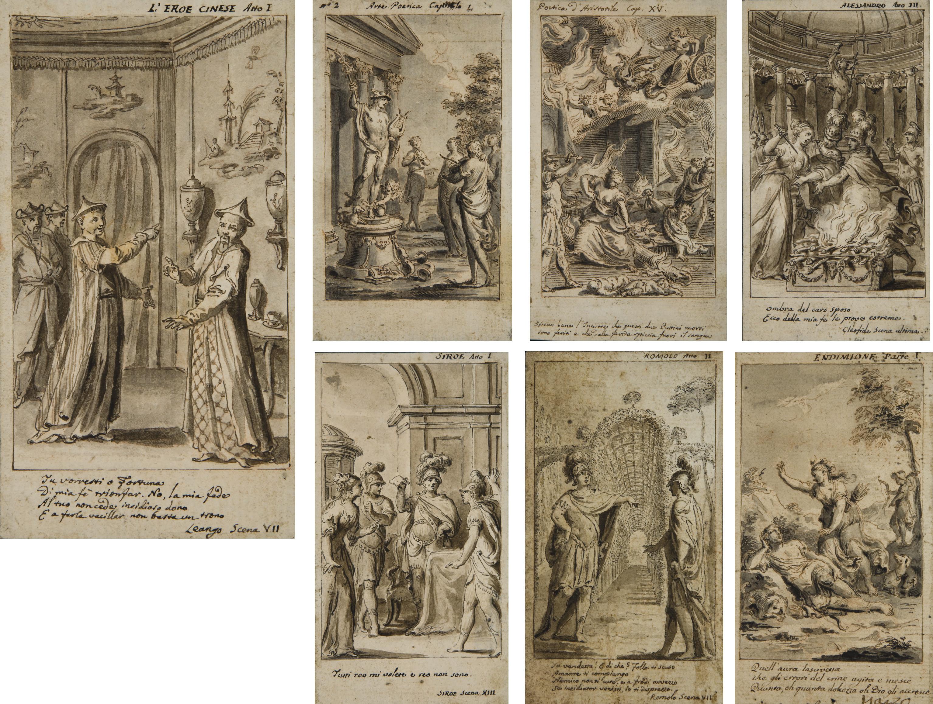 Suite de trente et un dessins pour les illustrations des Opere de Pietro Metastasio