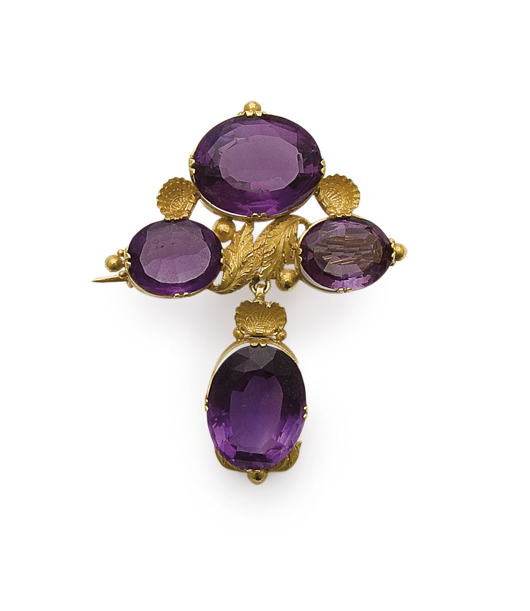 BROCHE EN OR ET AMETHYSTES