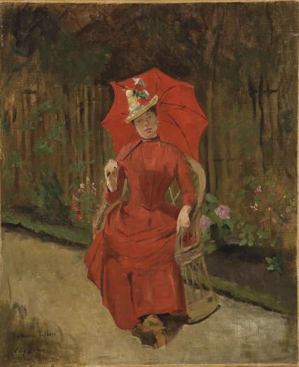 Femme assise à l'ombrelle rouge
