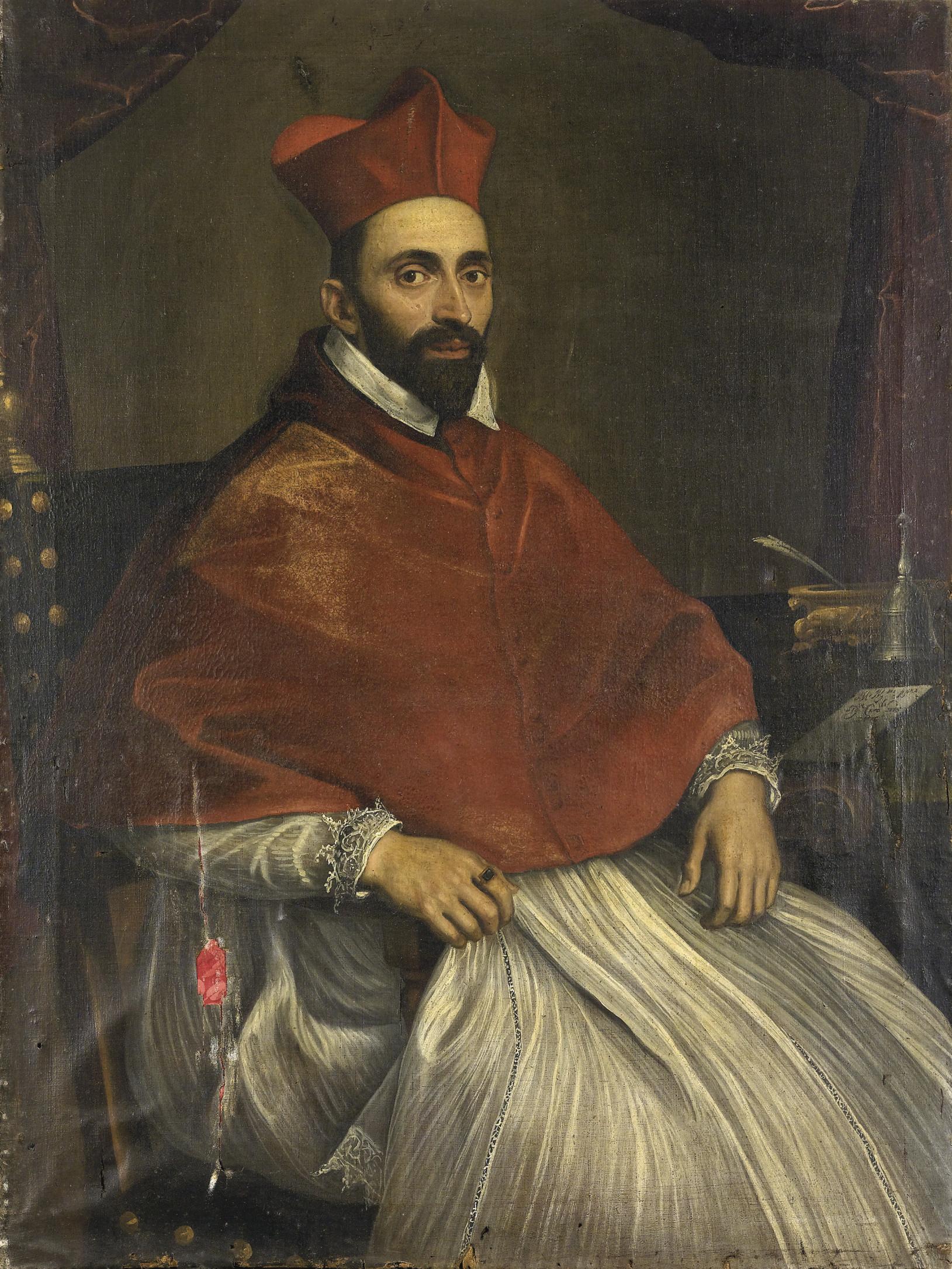 Ritratto del Cardinale Ghislieri, in poltrona, presso uno scrittoio