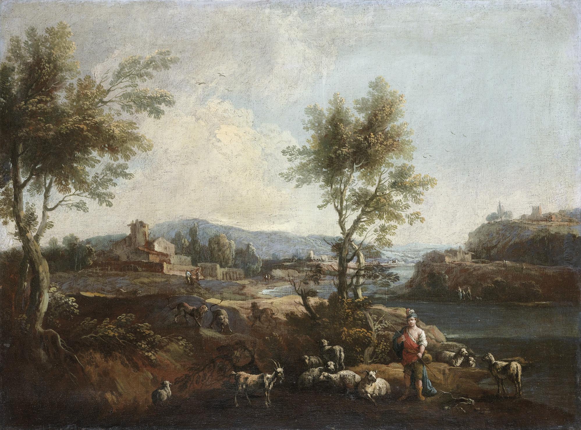 Paesaggio fluviale con pastore e gregge