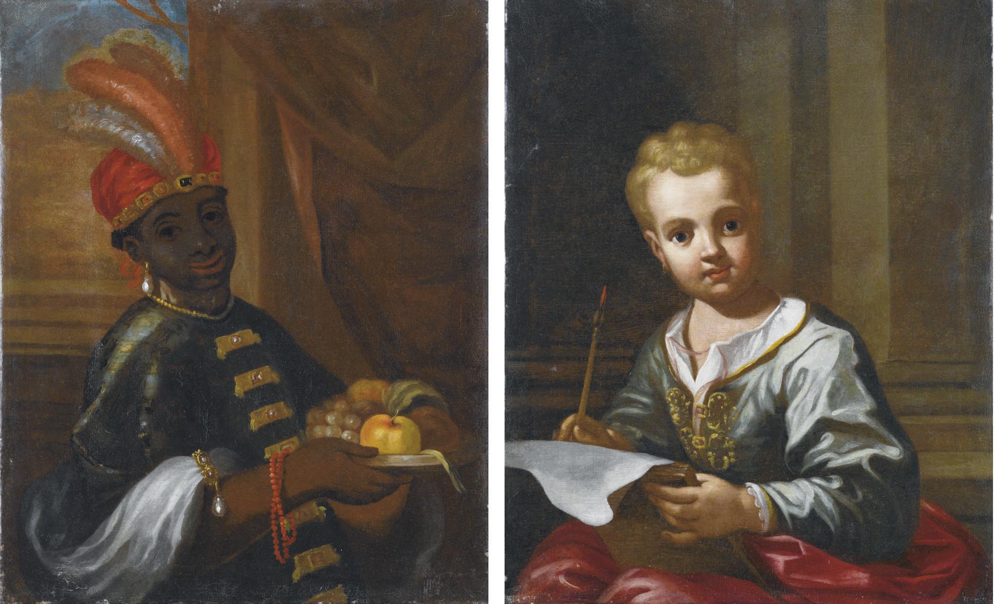 Servitore moro con piatto di frutta; e Bambino in verde