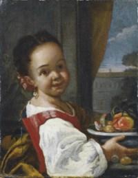 Bambina con piatto di frutta