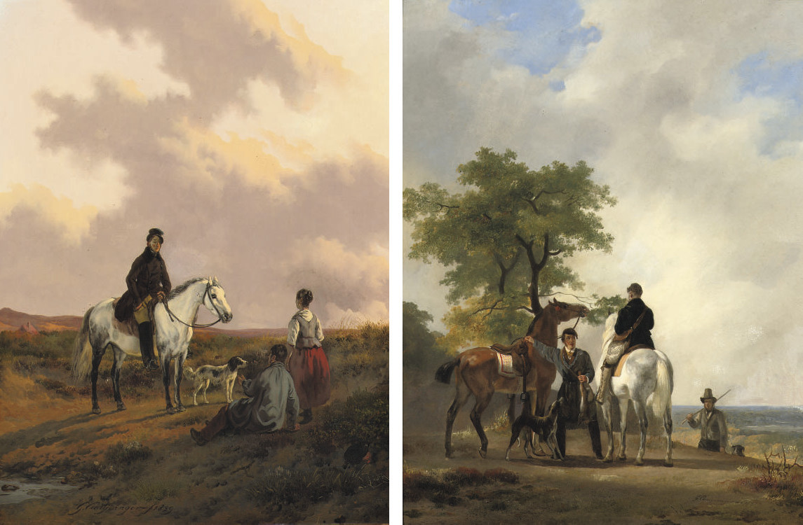 A good day's hunting; and A horseman conversing with travellers