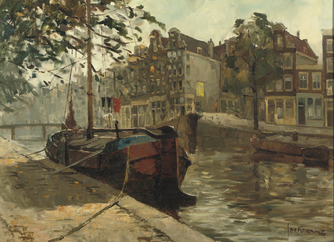 A moored boat in an Amsterdam canal