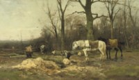 Wood-cutters on the edge of a forest