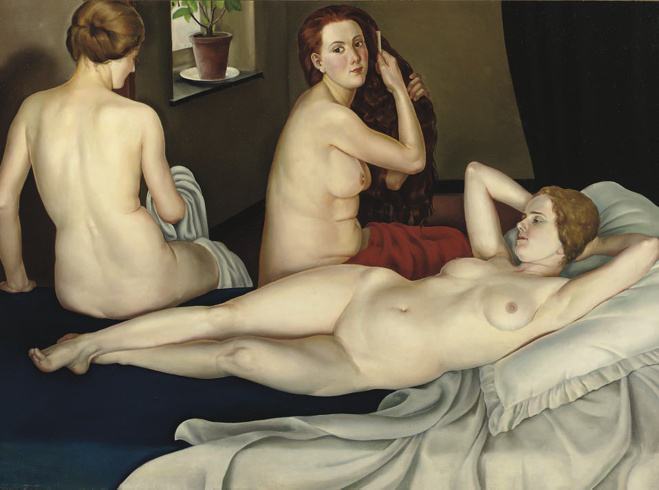 Three nudes in an interior