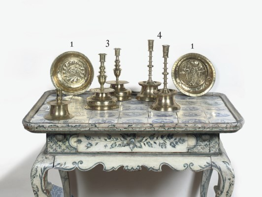 TWO BRASS ALMS DISHES