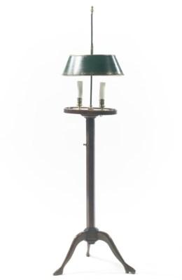 AN ENGLISH MAHOGANY FLOOR LAMP
