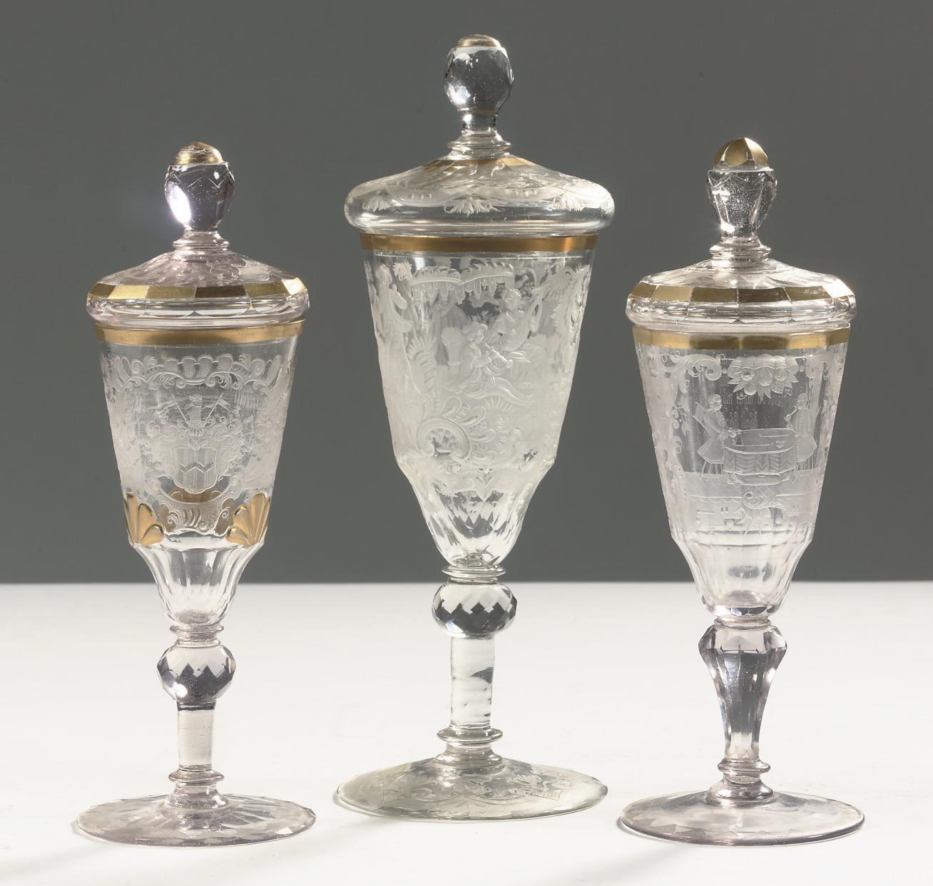 Three Silesian engraved gilt g
