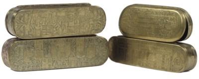 FOUR VARIOUS BRASS TOBACCO BOX