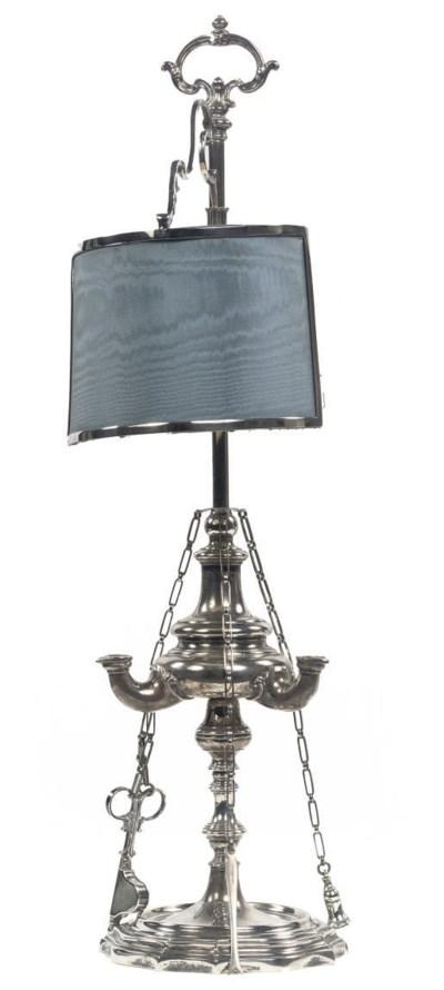 An Italian silver library lamp