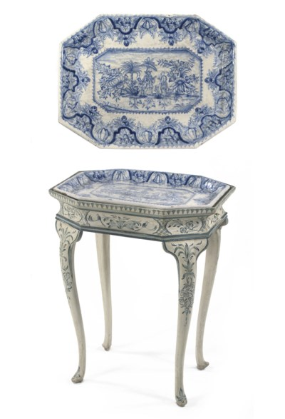 A DANISH BLUE AND WHITE PAINTE