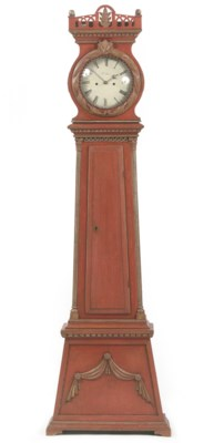 A DANISH RED-PAINTED LONGCASE