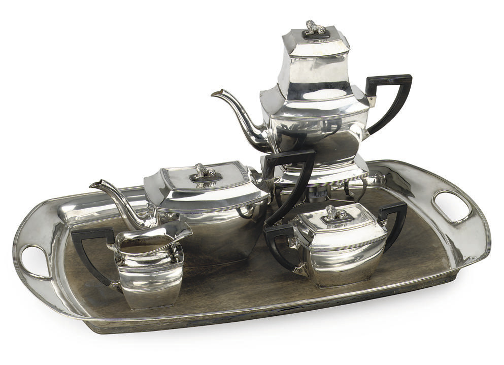 A Dutch silver five-piece tea