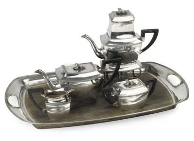 A Dutch silver five-piece tea