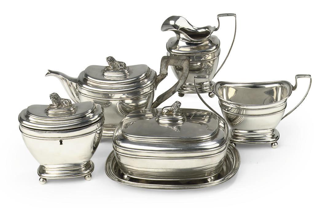 A Dutch silver six-piece tea-s