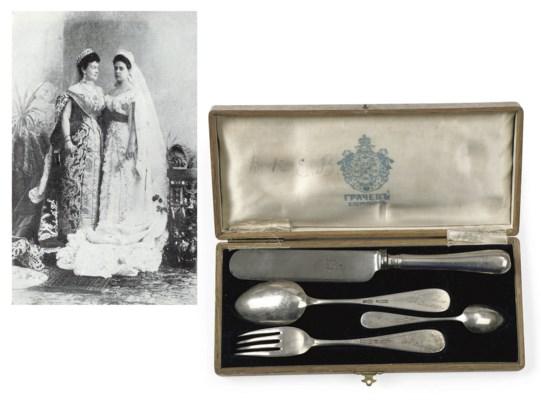 A Russian silver dessert set f