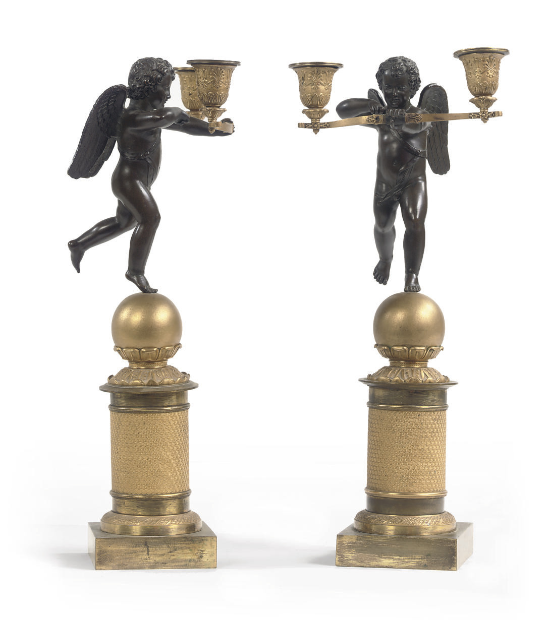 A PAIR OF EMPIRE ORMOLU AND PA