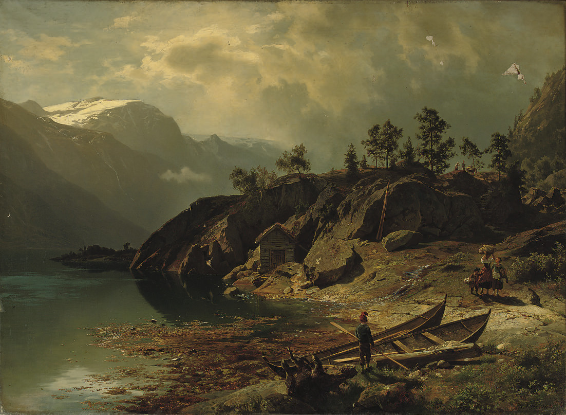 Figures near a mountain lake