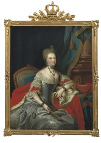 Portrait of Philippine, Countess of Hessen-Kassel, three-quarter-length, in a silver dress with embroidery, seated by a table with a crown on a cushion