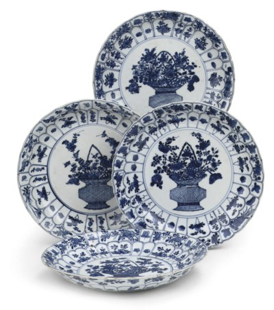 A set of four Chinese blue and