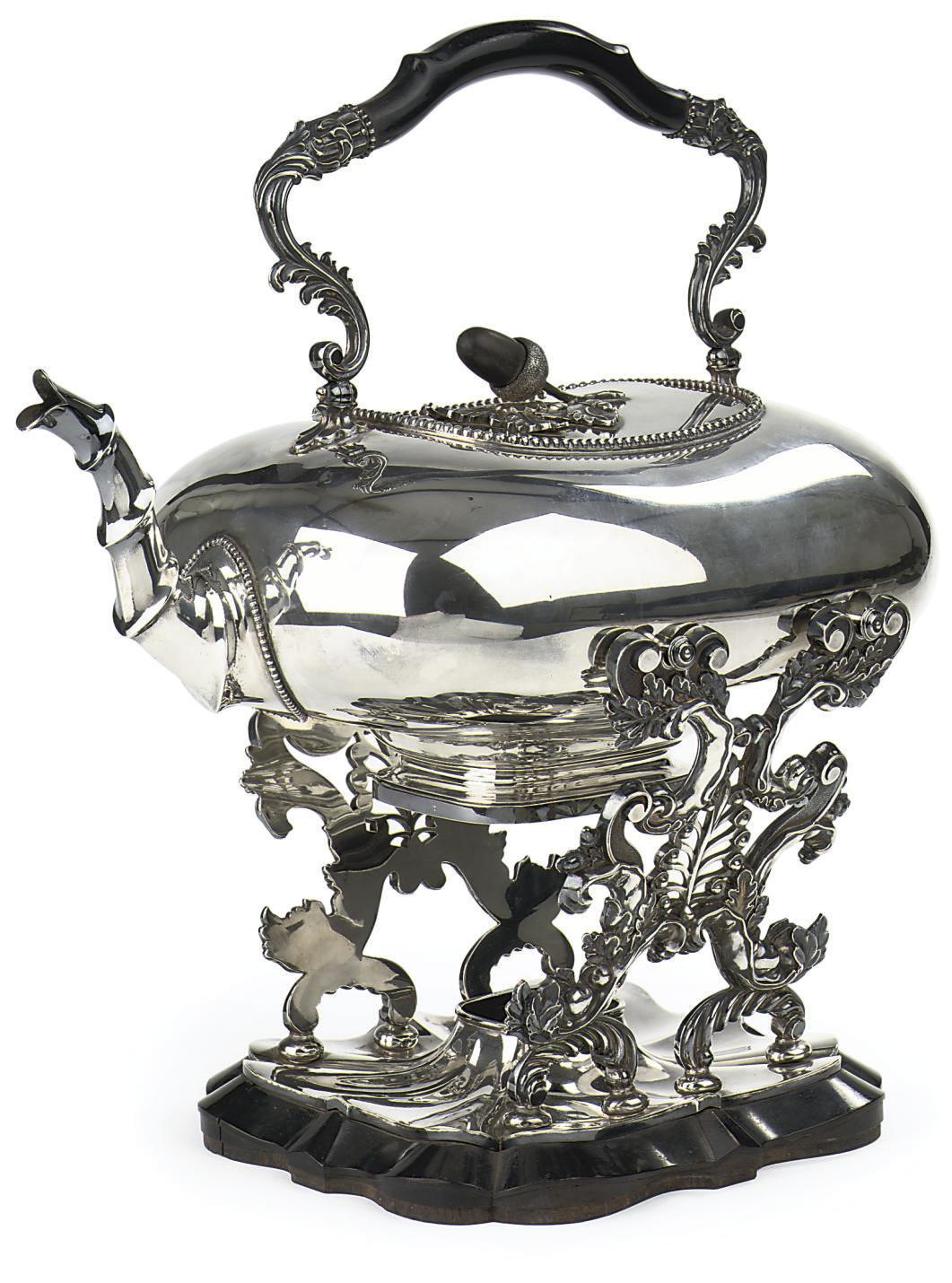 A Dutch silver tea-kettle and