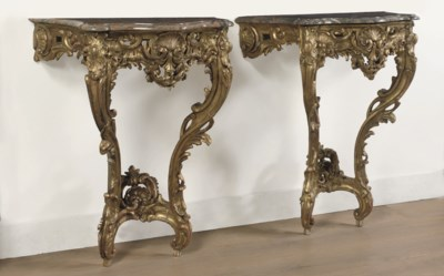 A PAIR OF LOUIS XV GILTWOOD CO