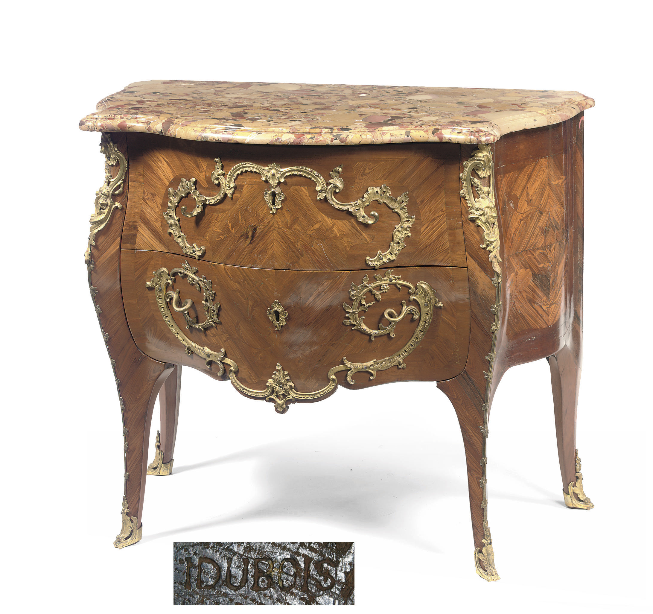 A LOUIS XV ORMOLU-MOUNTED, KINGWOOD, ROSEWOOD AND MAHOGANY MARQUETRY COMMODE