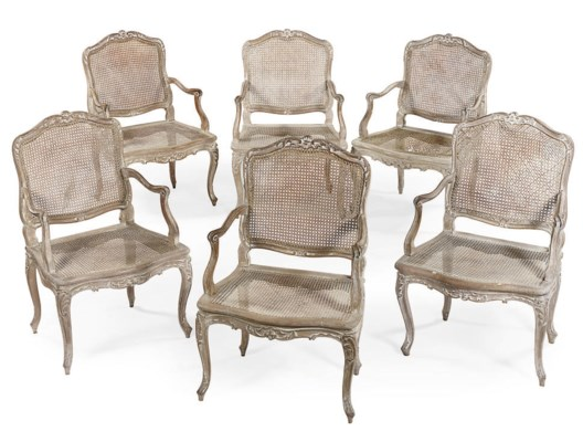 A SET OF SIX LOUIS XV LIME WAS