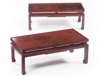 A pair of Chinese red lacquer