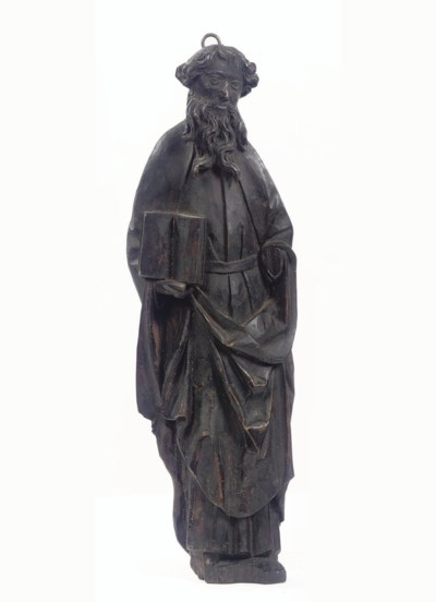 A CARVED WOOD FIGURE OF AN APO
