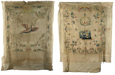 TWO CREWELWORK BEDSPREADS