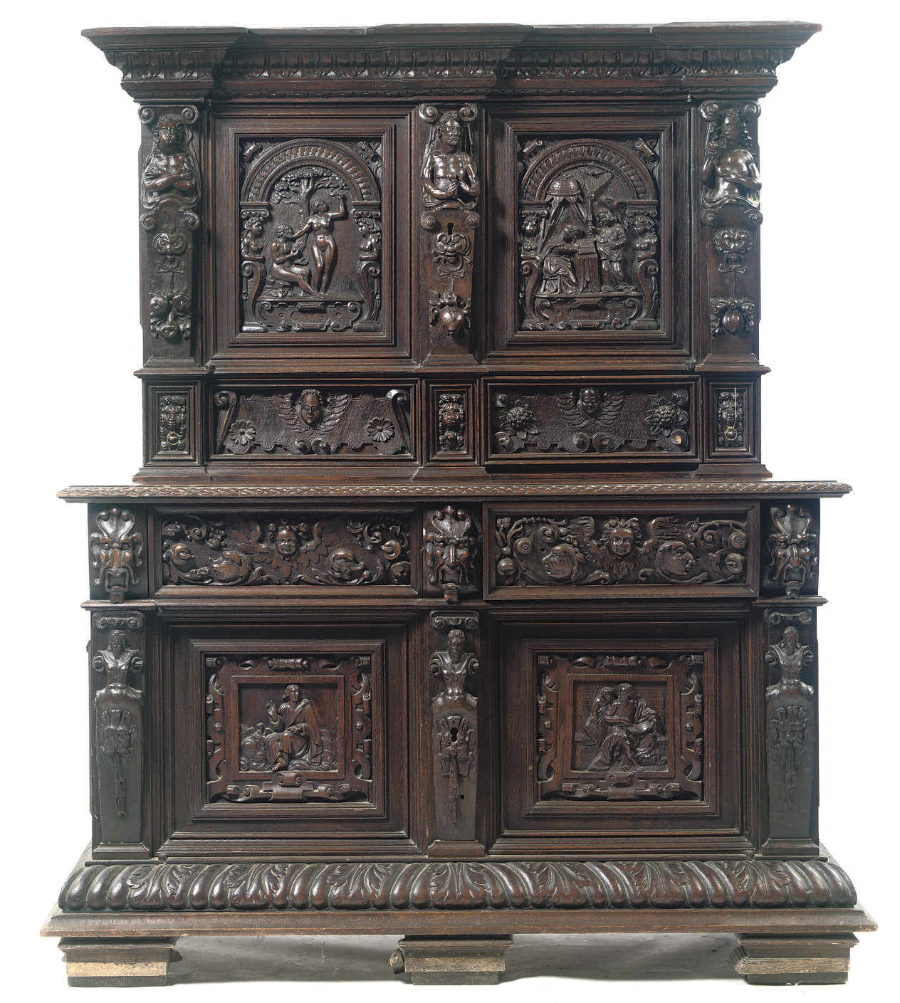 A GERMAN STAINED CARVED OAK CA