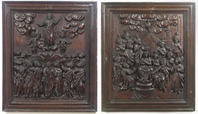 A PAIR OF SOUTH GERMAN CARVED