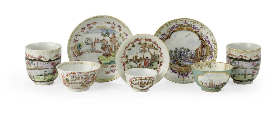 Three Chinese Meissen-style cu