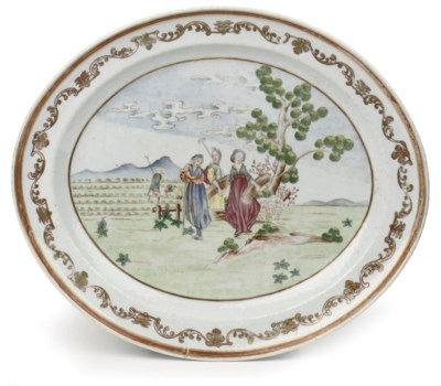 A Chinese famille rose oval di