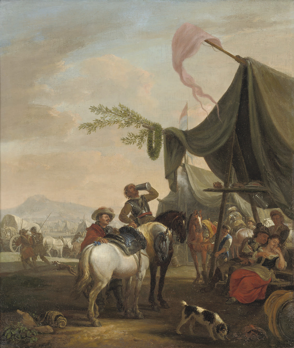 Soldiers on horseback near an encampment