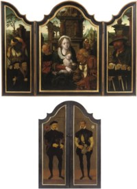 A triptych: The Adoration of the Magi with donors and two male donors on the outer wings