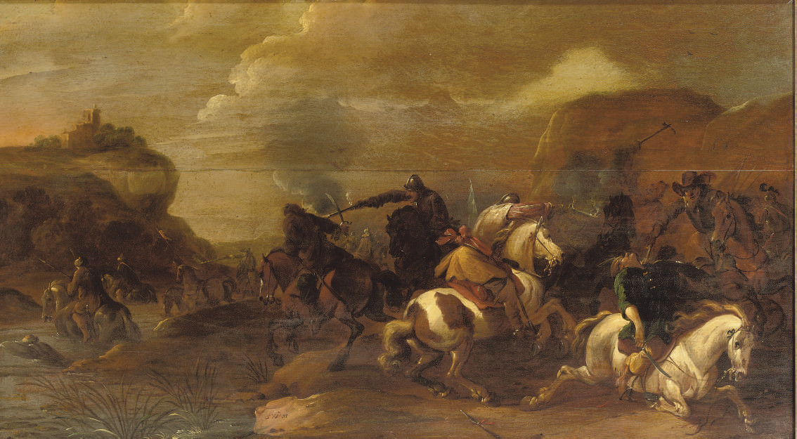A cavalry skirmish in a rocky landscape