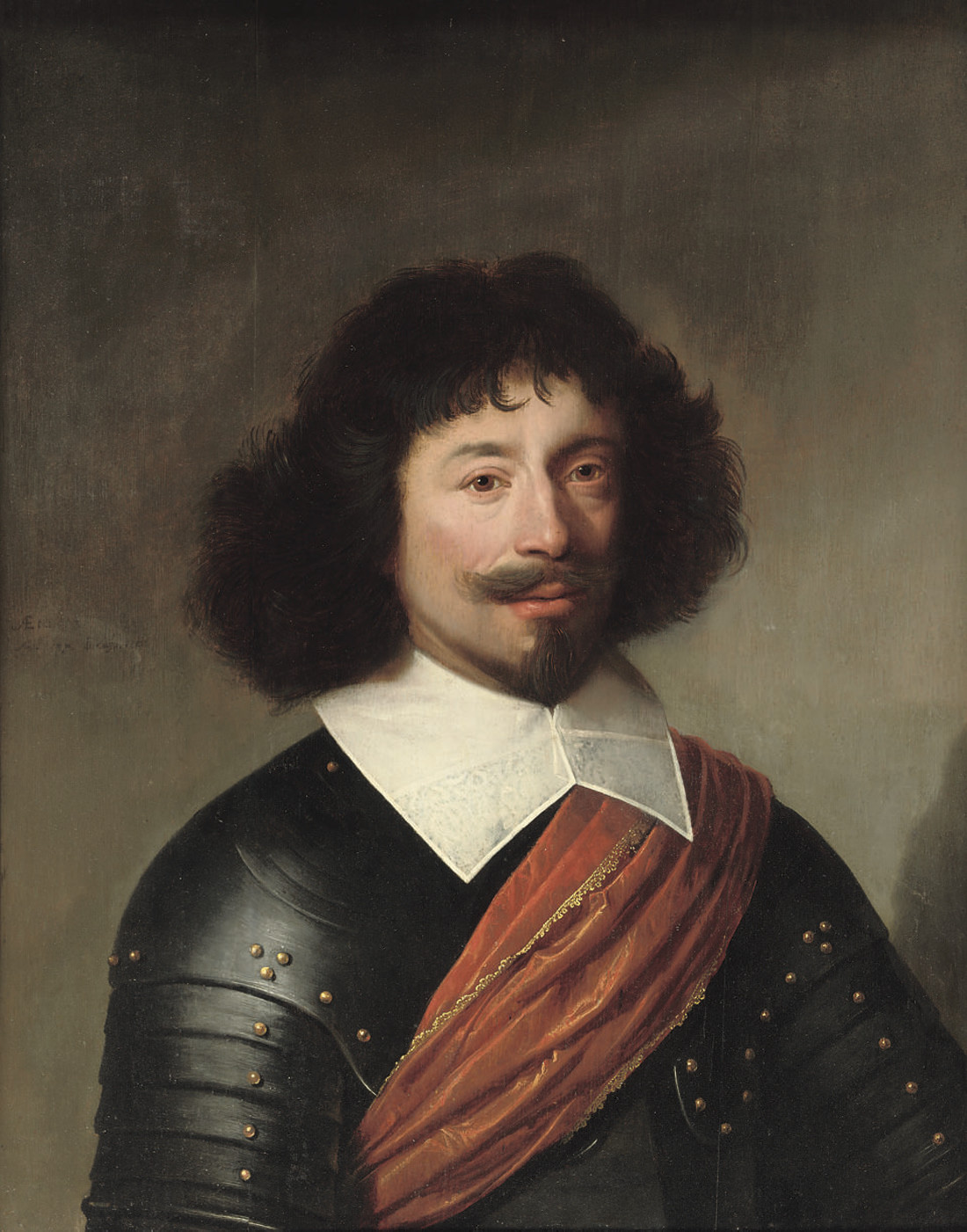 Portrait of an officer, half-length, in armor, with a red sash