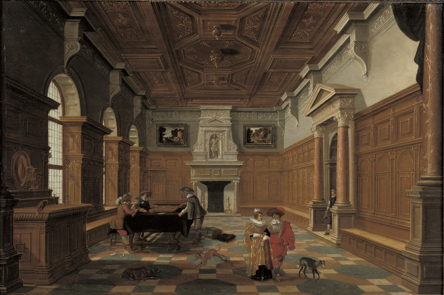 An interior with an elegant company playing backgammon