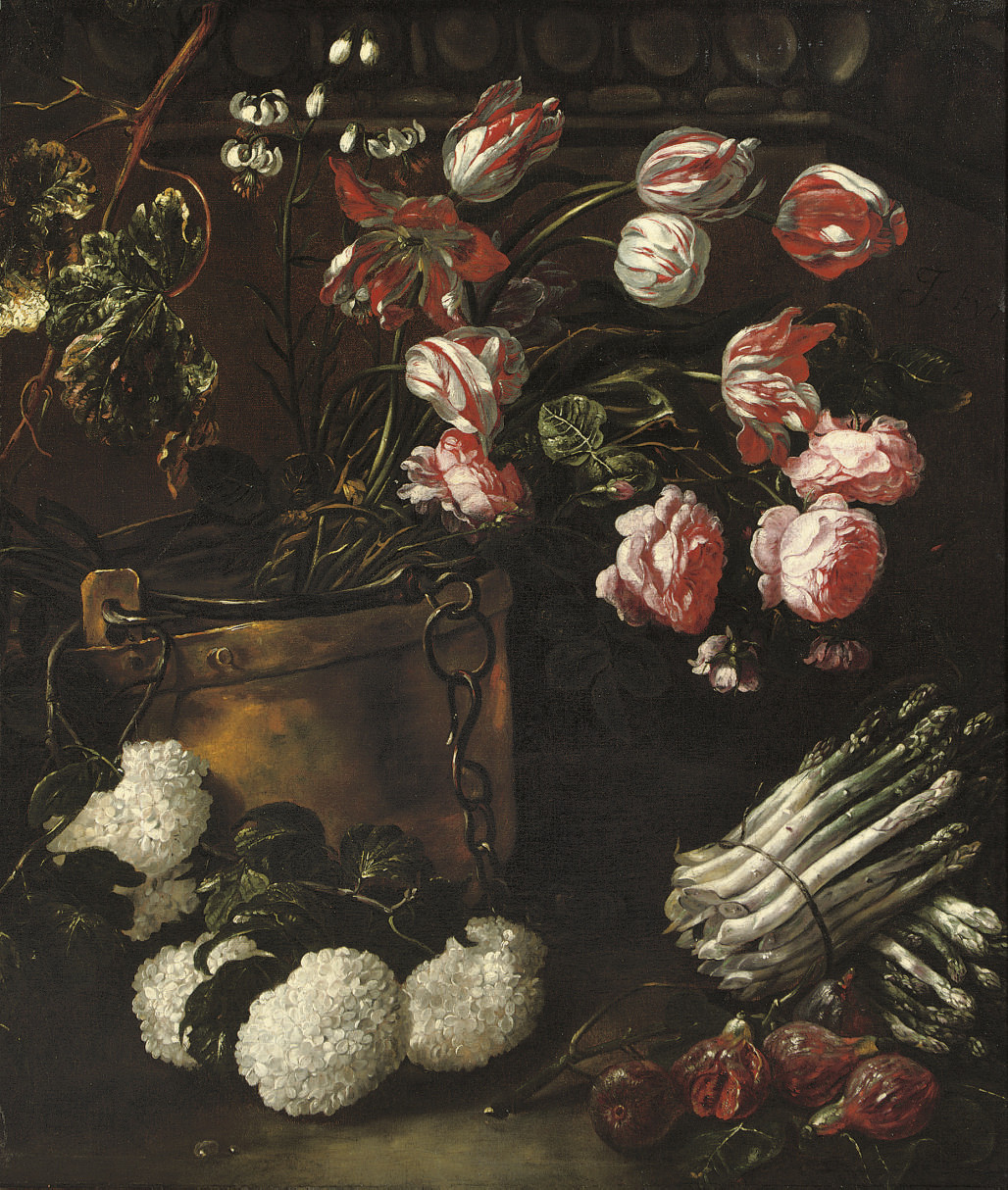 Tulips, roses and other flowers in a copper bucket with asparagus and figs