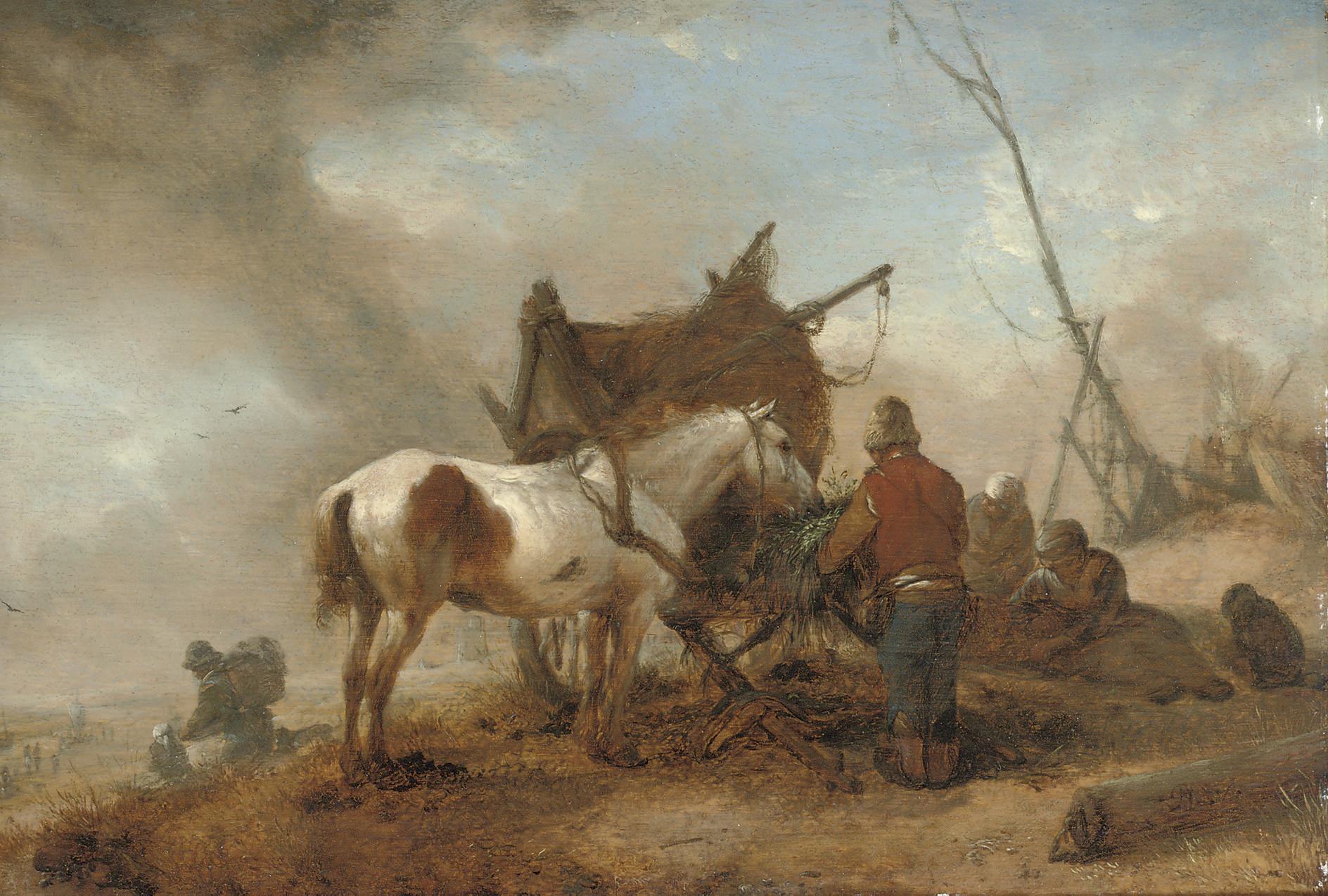 A peasant attending a horse in a dune landscape