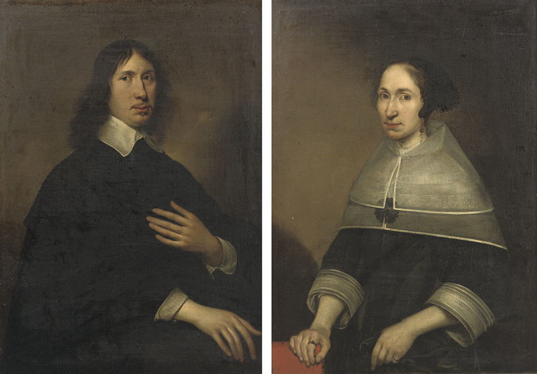 Portrait of Willem Craeyvanger (1616-1659), half-length, in a black costume with a white collar and cuffs; and Portrait of Christine van de Wart, half-length, in a black dress with a white collar and cuffs, leaning with her right hand on a red upholstered chair