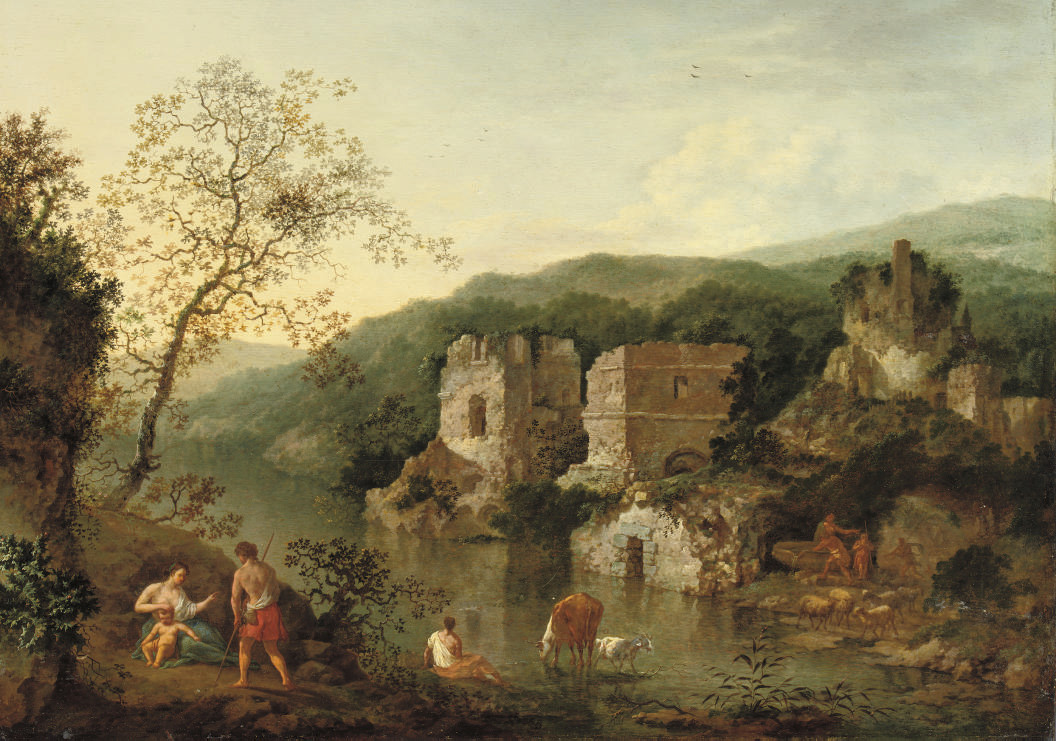 An Italianate landscape with classical figures by a river, ruins beyond