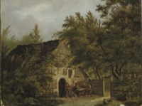 Peasants outside a cottage in a wooded landscape
